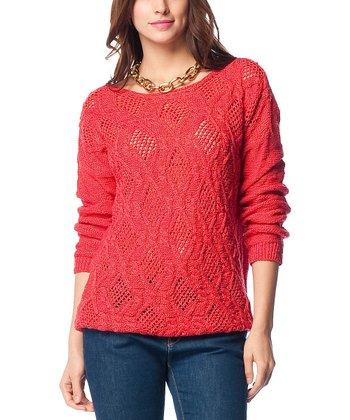 Red Crochet Wool-Blend Sweater