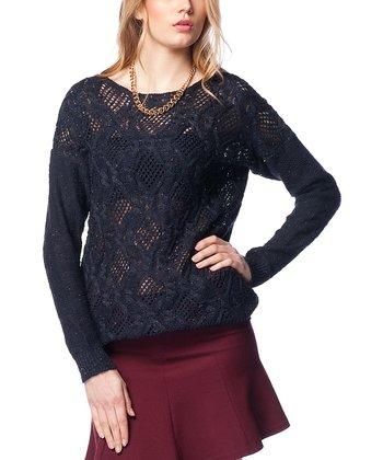 Navy Crochet Wool-Blend Sweater