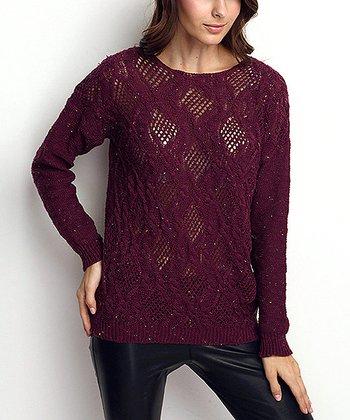 Purple Crochet Wool-Blend Sweater