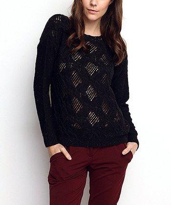 Black Crochet Wool-Blend Sweater