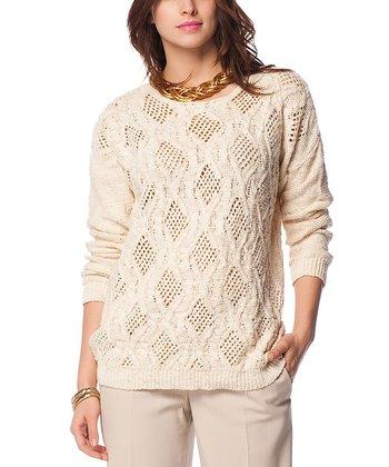 Bone Crochet Wool-Blend Sweater