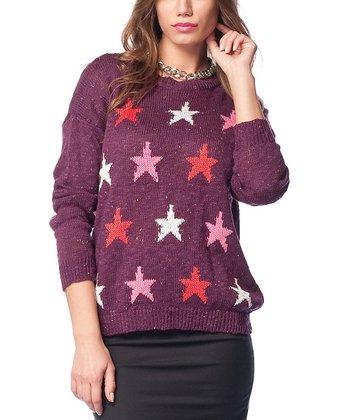 Purple Star Wool-Blend Sweater