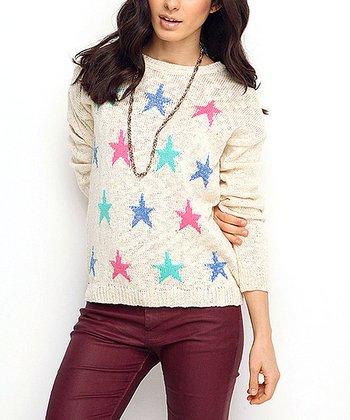 Bone Star Wool-Blend Sweater