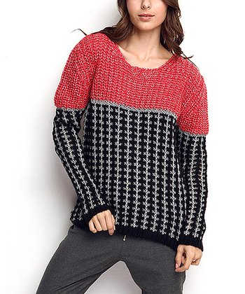 Red & Black Wool-Blend Sweater
