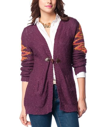 Purple Tribal Wool-Blend Cardigan