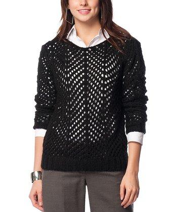 Black Sheer Crochet Wool-Blend Sweater