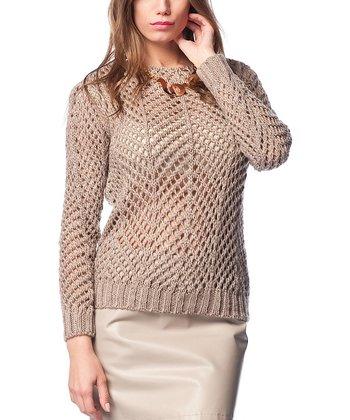 Vizon Sheer Crochet Wool-Blend Sweater