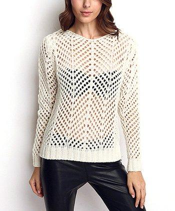 Bone Sheer Crochet Wool-Blend Sweater