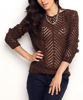 Brown Sheer Crochet Wool-Blend Sweater