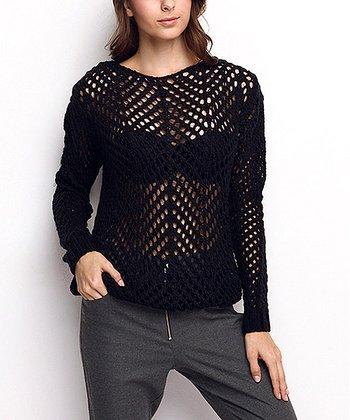 Navy Sheer Crochet Wool-Blend Sweater