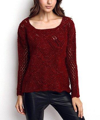 Claret Red Diamond Glitter Wool-Blend Sweater