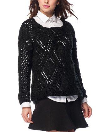 Black Diamond Glitter Wool-Blend Sweater