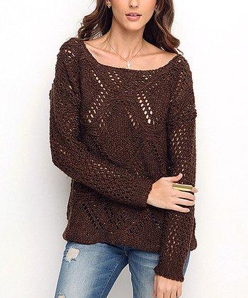 Brown Diamond Glitter Wool-Blend Sweater