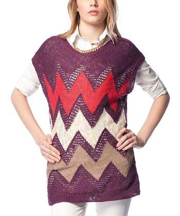 Purple Zigzag Wool-Blend Cap-Sleeve Sweater