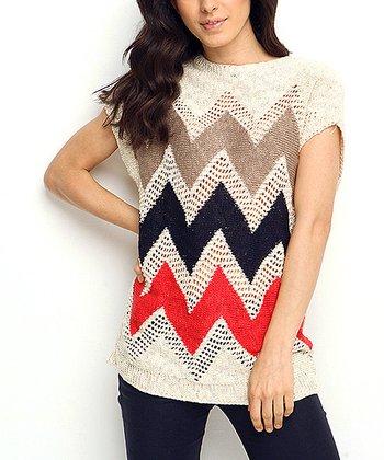 Bone Zigzag Wool-Blend Cap-Sleeve Sweater