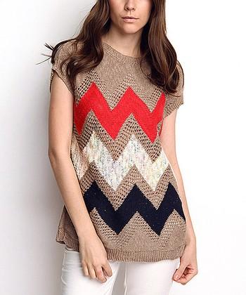 Vizon Zigzag Wool-Blend Cap-Sleeve Sweater