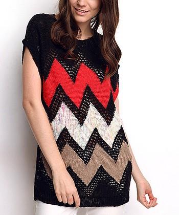 Black Zigzag Wool-Blend Cap-Sleeve Sweater