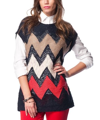 Navy Zigzag Wool-Blend Cap-Sleeve Sweater