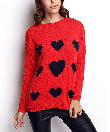 Coral Heart Wool-Blend Sweater
