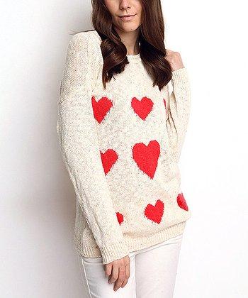 Cream Heart Wool-Blend Sweater