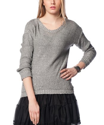 Gray Wool-Blend Crewneck Sweater
