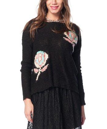 Black Flower Wool-Blend Sweater