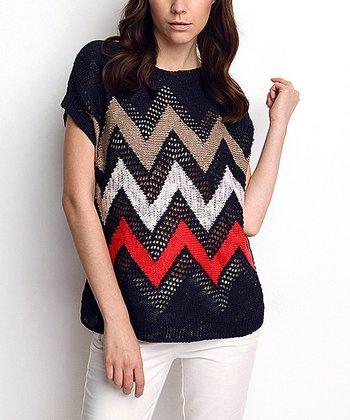 Navy Zigzag Wool-Blend Dolman Sweater