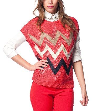 Red Zigzag Wool-Blend Dolman Sweater