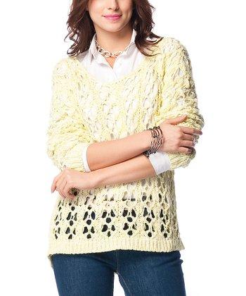 Pistachio Green Crochet Wool-Blend Sweater