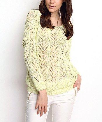 Green Chevron Crochet Wool-Blend Sweater