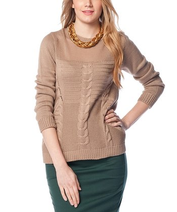 Brown Sheer Neck Cable-Knit Wool-Blend Sweater