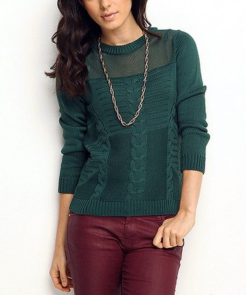 Green Sheer Neck Cable-Knit Wool-Blend Sweater