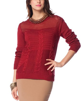 Claret Red Sheer Neck Cable-Knit Wool-Blend Sweater