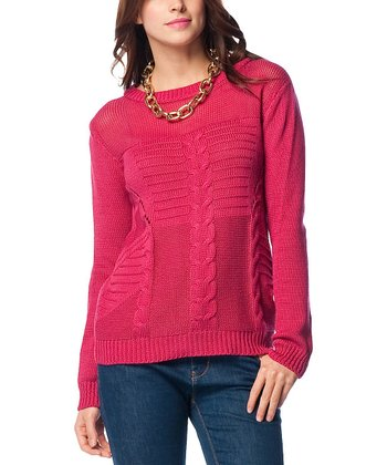 Fuchsia Sheer Neck Cable-Knit Wool-Blend Sweater