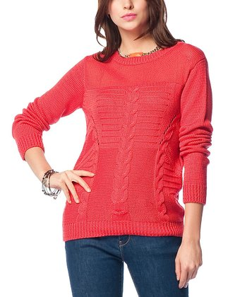 Red Sheer Neck Cable-Knit Wool-Blend Sweater