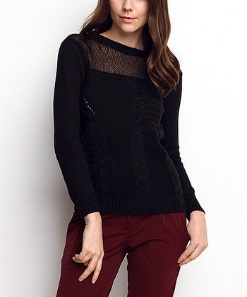 Black Sheer Neck Cable-Knit Wool-Blend Sweater