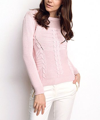 Pink Sheer Neck Cable-Knit Wool-Blend Sweater