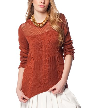 Terra-Cotta Sheer Neck Cable-Knit Wool-Blend Sweater