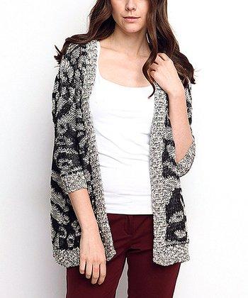 Black & Gray Animal Wool-Blend Open Cardigan