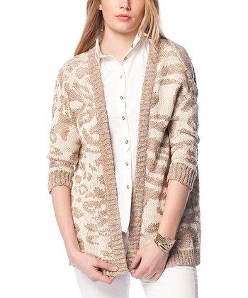 Beige & White Animal Wool-Blend Open Cardigan