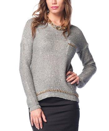 Gray & Gold Embellished Keyhole Wool-Blend Sweater