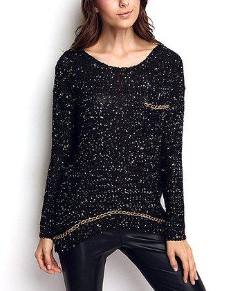 Black & Gold Embellished Keyhole Wool-Blend Sweater