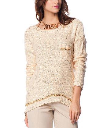 Cream & Gold Embellished Keyhole Wool-Blend Sweater