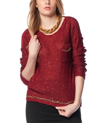Claret Red & Gold Embellished Keyhole Wool-Blend Sweater