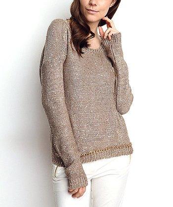 Vizon & Gold Embellished Keyhole Wool-Blend Sweater