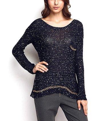 Navy & Gold Embellished Keyhole Wool-Blend Sweater