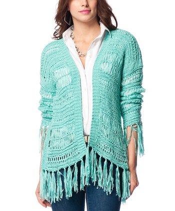 Mint Blue Fringe Wool-Blend Open Cardigan