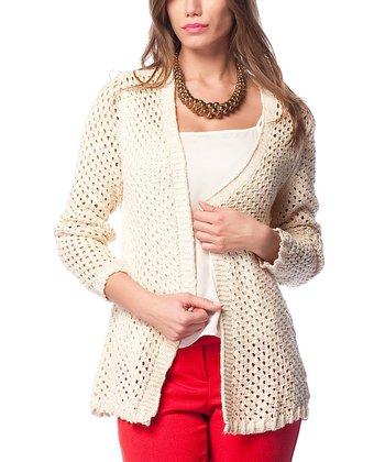 Cream Crochet Wool-Blend Open Cardigan