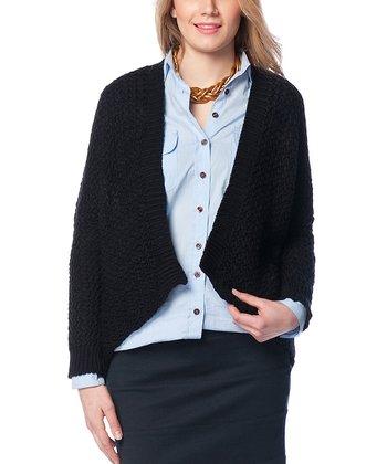 Black Wool-Blend Open Cardigan