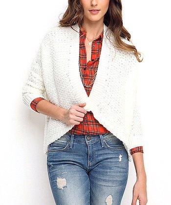 Bone Crochet Wool-Blend Open Cardigan